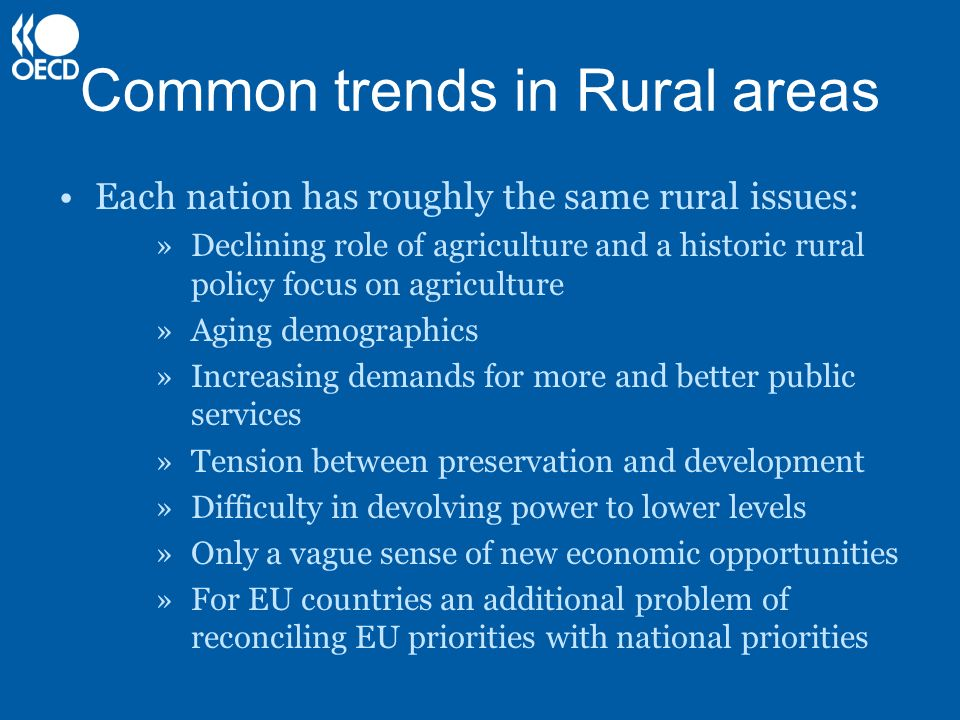 Common trends in Rural areas