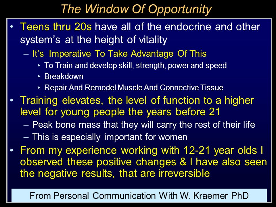 Developing a training progression for juniors ppt download for Window of opportunity