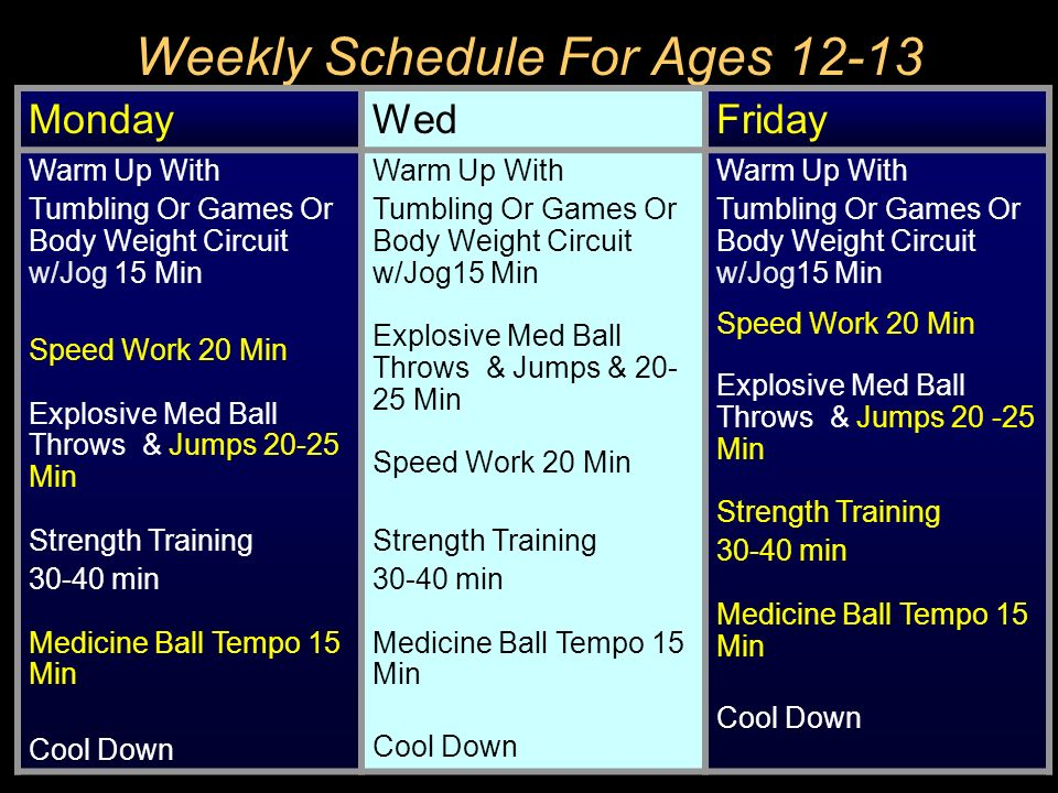 Weekly Schedule For Ages 12-13