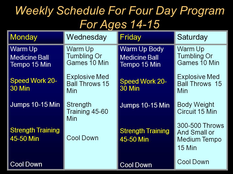 Weekly Schedule For Four Day Program For Ages 14-15
