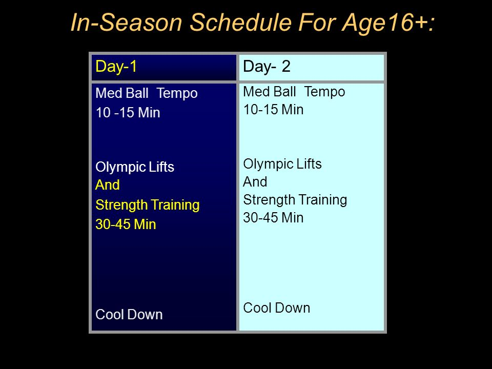 In-Season Schedule For Age16+: