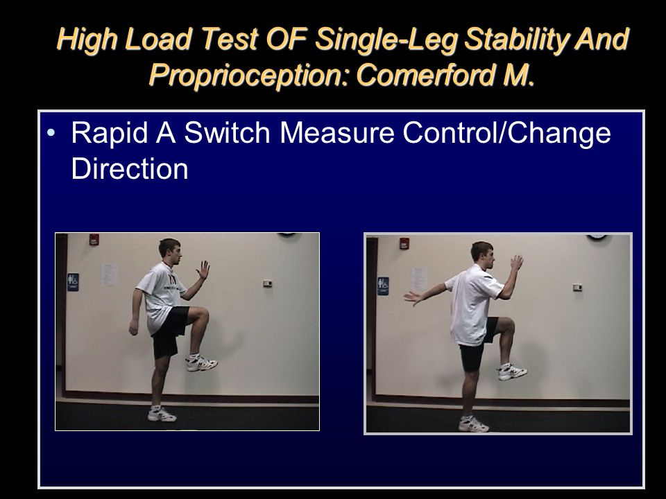 High Load Test OF Single-Leg Stability And Proprioception: Comerford M.
