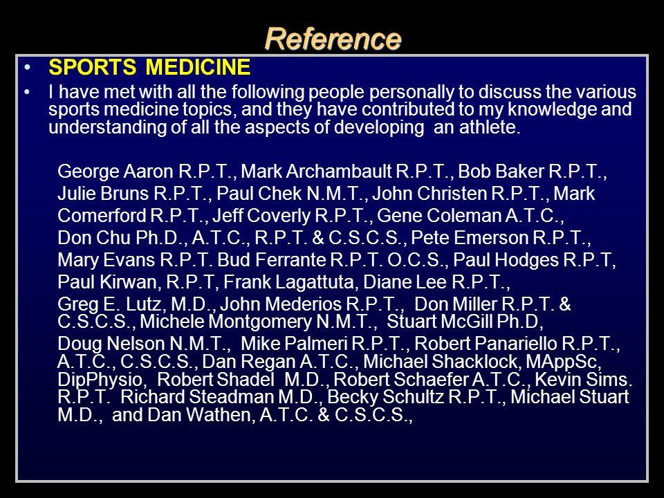 Reference SPORTS MEDICINE