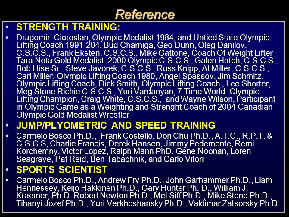 Reference STRENGTH TRAINING: JUMP/PLYOMETRIC AND SPEED TRAINING