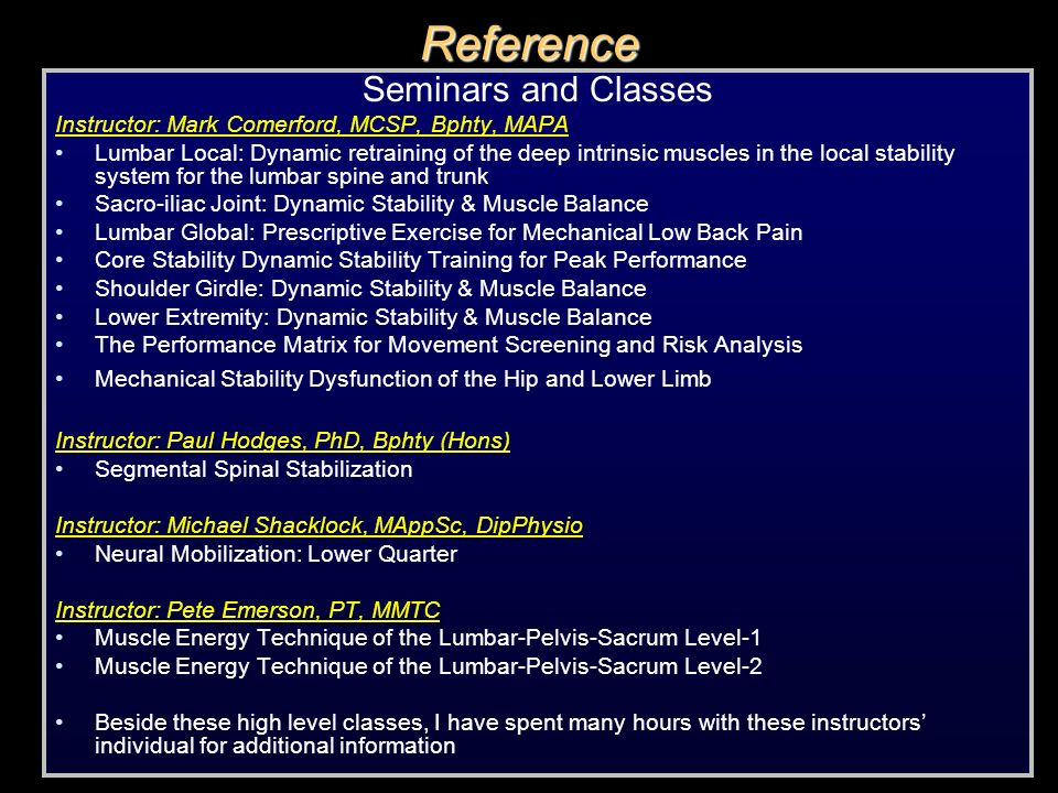 Reference Seminars and Classes