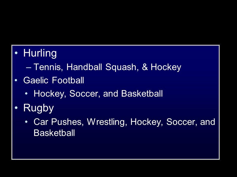 Hurling Rugby Tennis, Handball Squash, & Hockey Gaelic Football