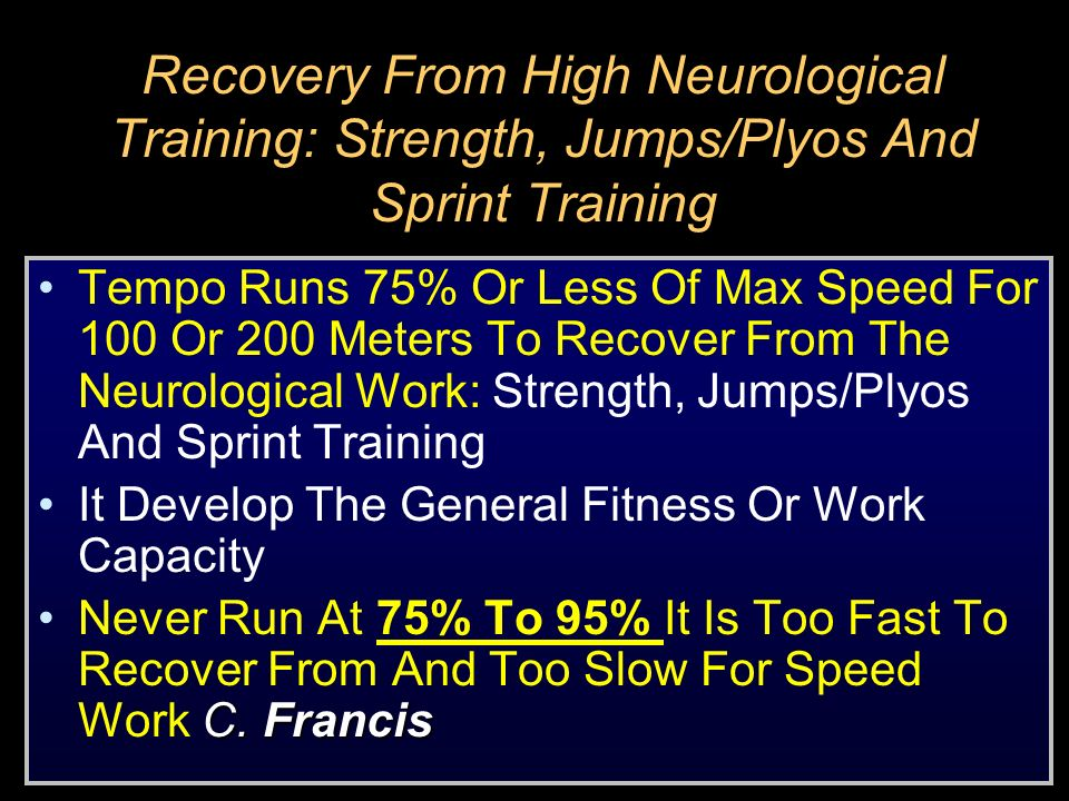 Recovery From High Neurological Training: Strength, Jumps/Plyos And Sprint Training
