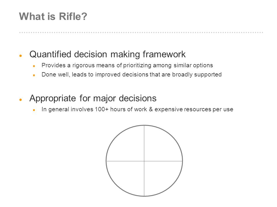 What is Rifle Quantified decision making framework