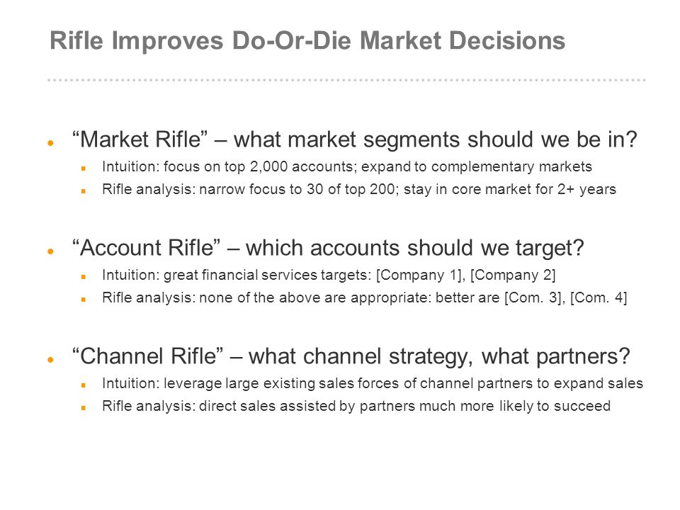 Rifle Improves Do-Or-Die Market Decisions