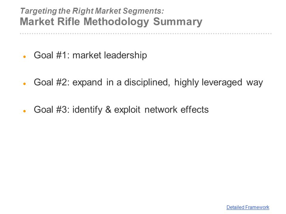 Targeting the Right Market Segments: Market Rifle Methodology Summary