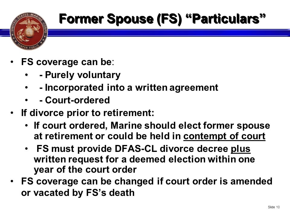 Former Spouse (FS) Particulars