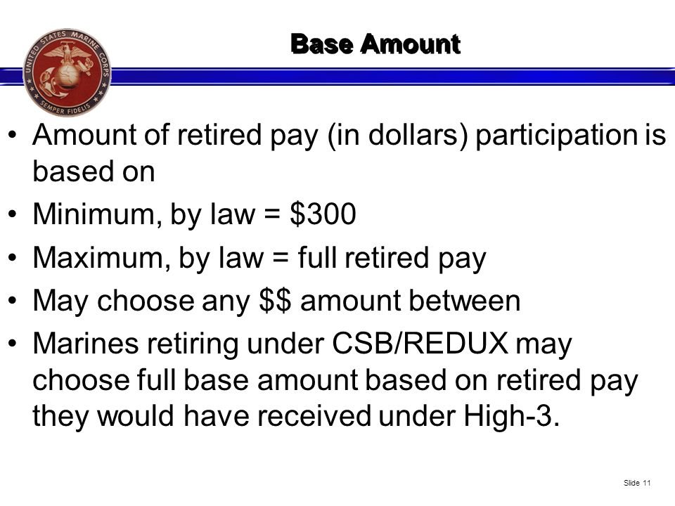 Amount of retired pay (in dollars) participation is based on
