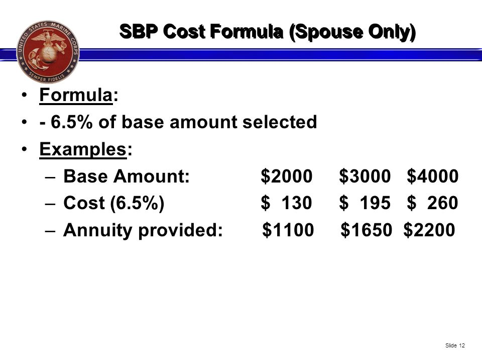 SBP Cost Formula (Spouse Only)