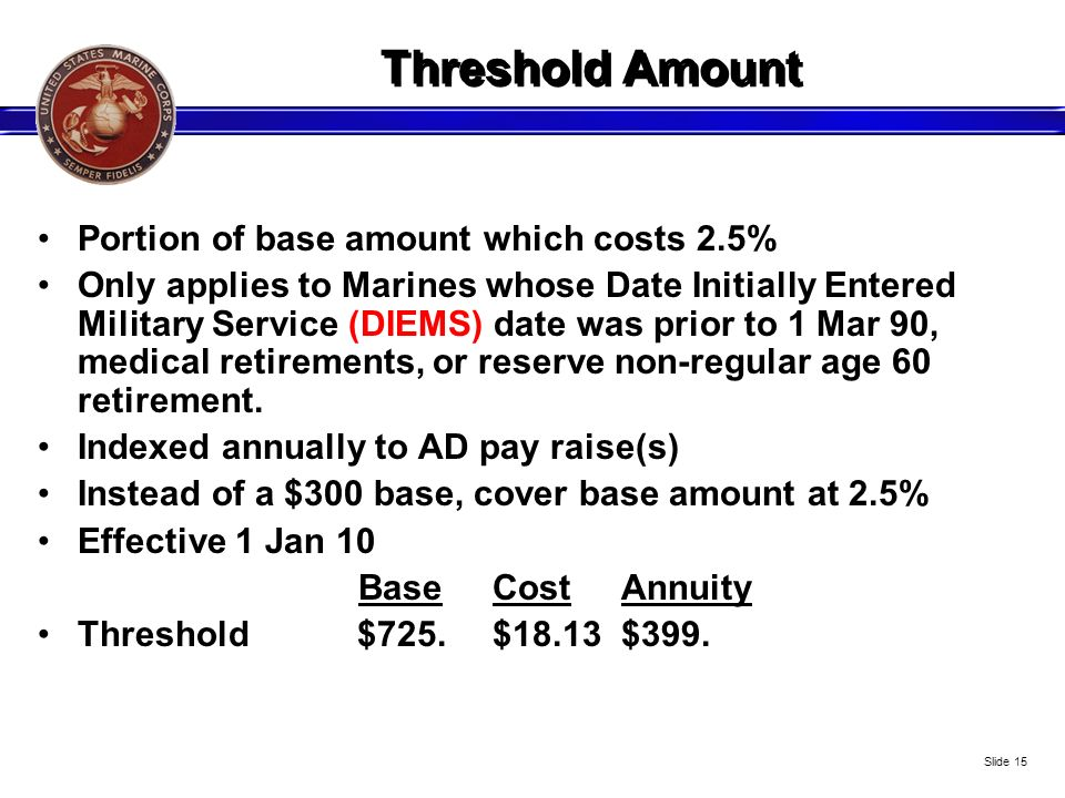 Threshold Amount Portion of base amount which costs 2.5%