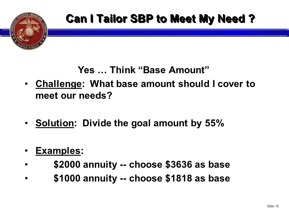 Can I Tailor SBP to Meet My Need