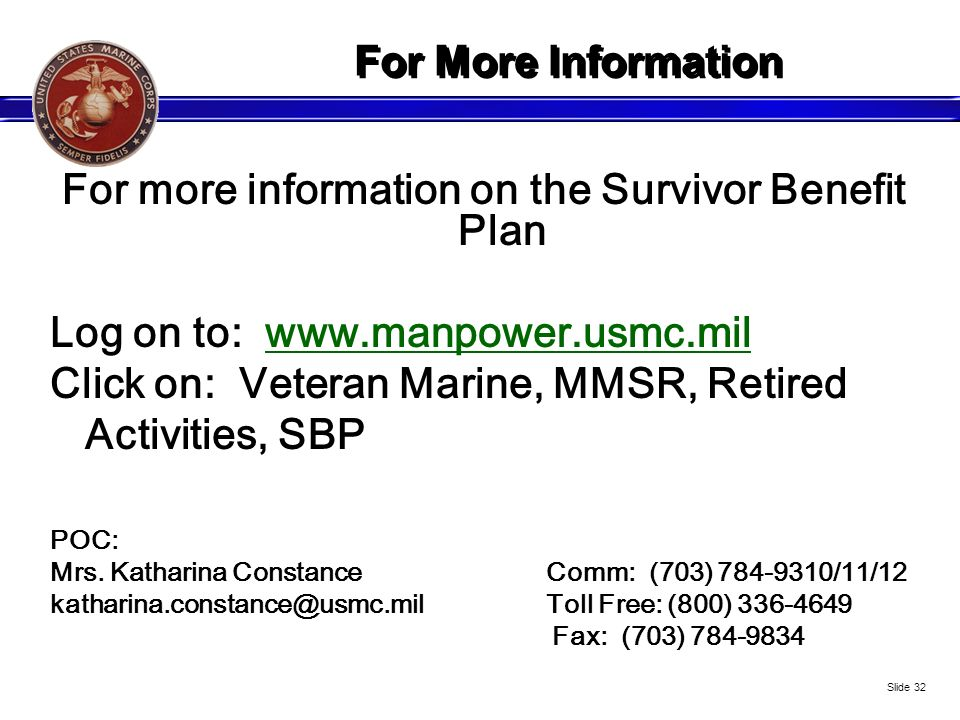 For more information on the Survivor Benefit Plan