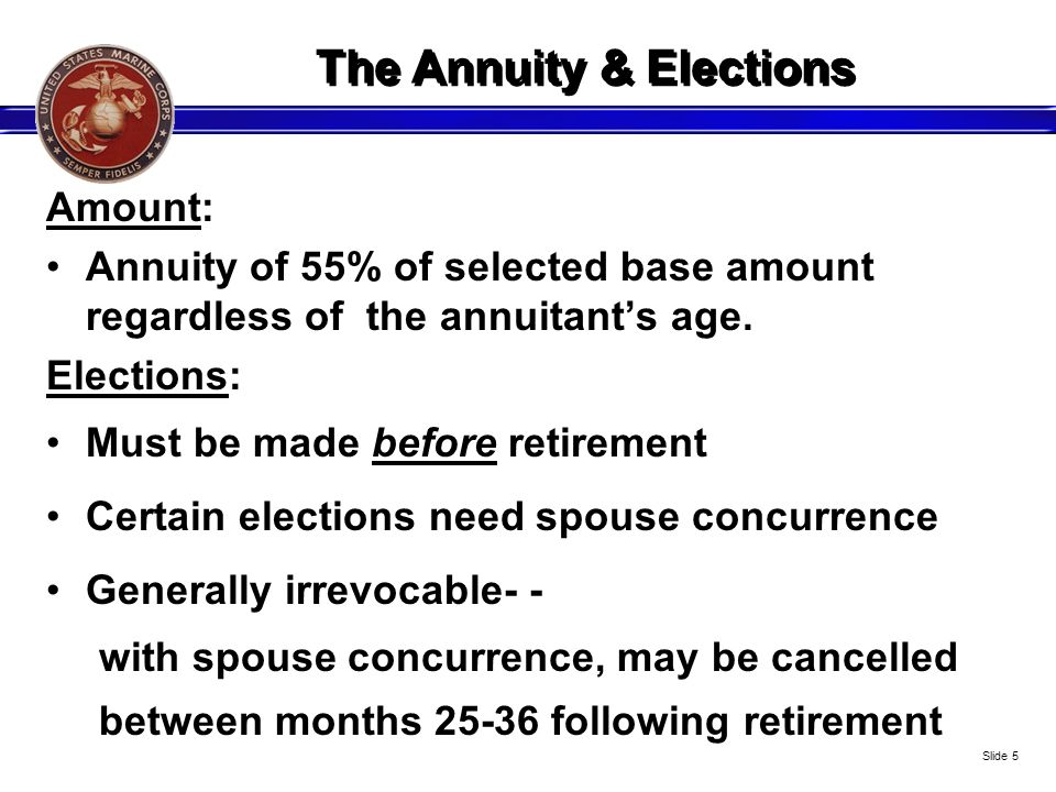 The Annuity & Elections