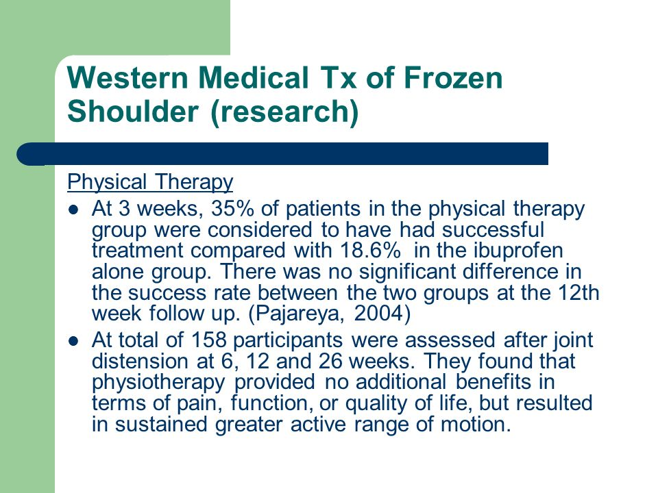 Western Medical Tx of Frozen Shoulder (research)