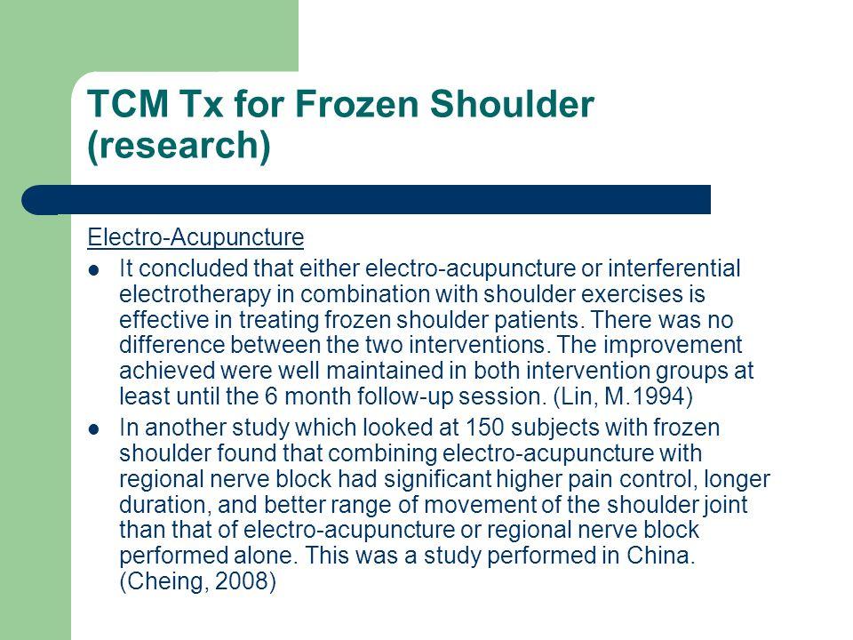 TCM Tx for Frozen Shoulder (research)