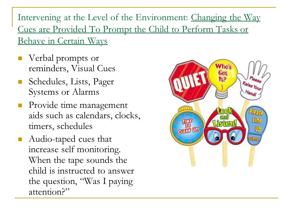 Intervening at the Level of the Environment: Changing the Way Cues are Provided To Prompt the Child to Perform Tasks or Behave in Certain Ways