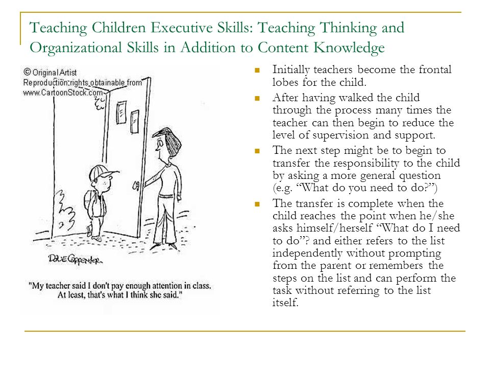 Teaching Children Executive Skills: Teaching Thinking and Organizational Skills in Addition to Content Knowledge
