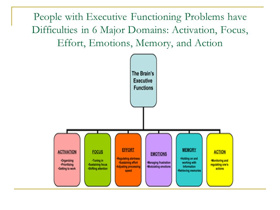 People with Executive Functioning Problems have Difficulties in 6 Major Domains: Activation, Focus, Effort, Emotions, Memory, and Action