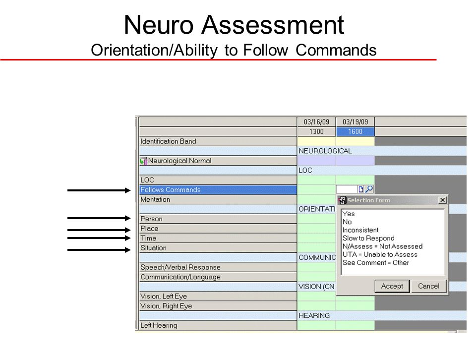 Neuro Assessment Orientation/Ability to Follow Commands