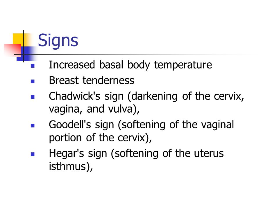 Signs Increased basal body temperature Breast tenderness