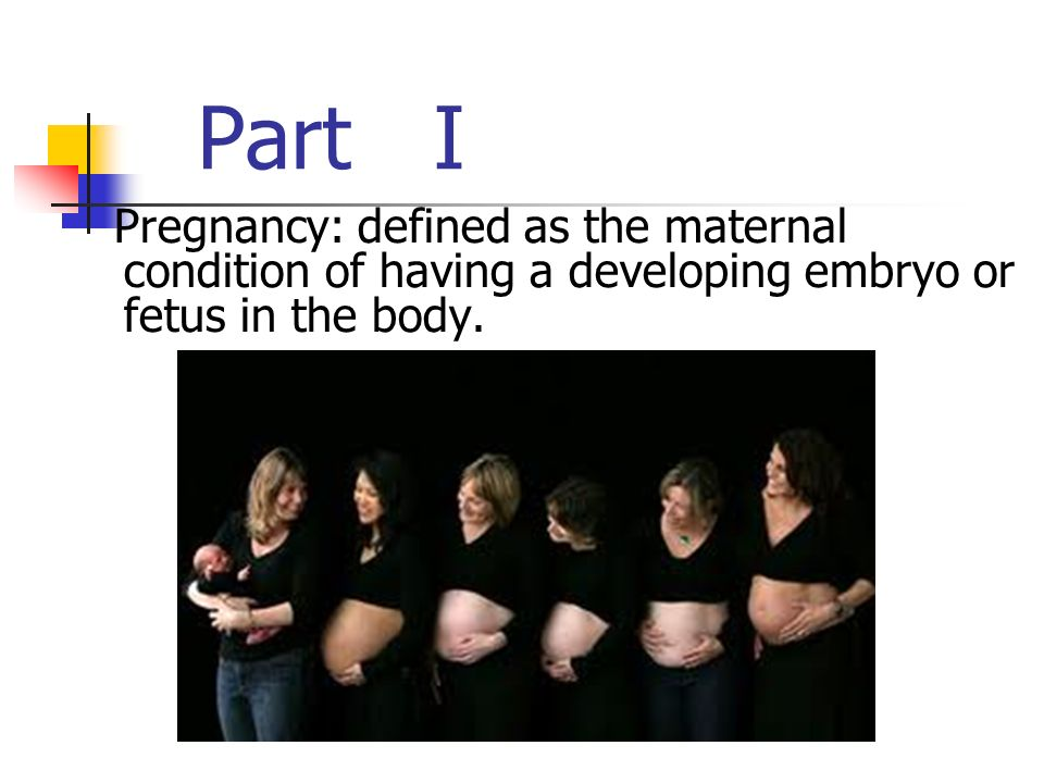 Part I Pregnancy: defined as the maternal condition of having a developing embryo or fetus in the body.