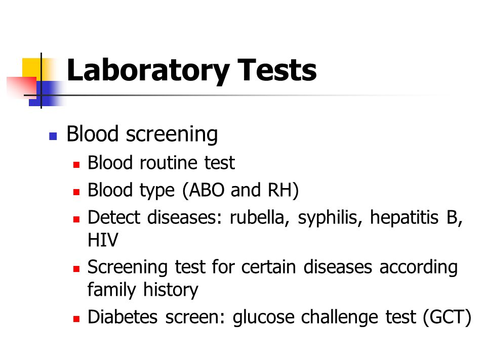 Laboratory Tests Blood screening Blood routine test