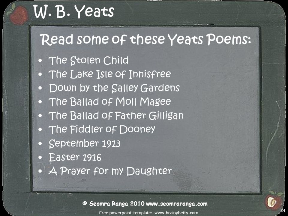 W. B. Yeats Read some of these Yeats Poems: The Stolen Child
