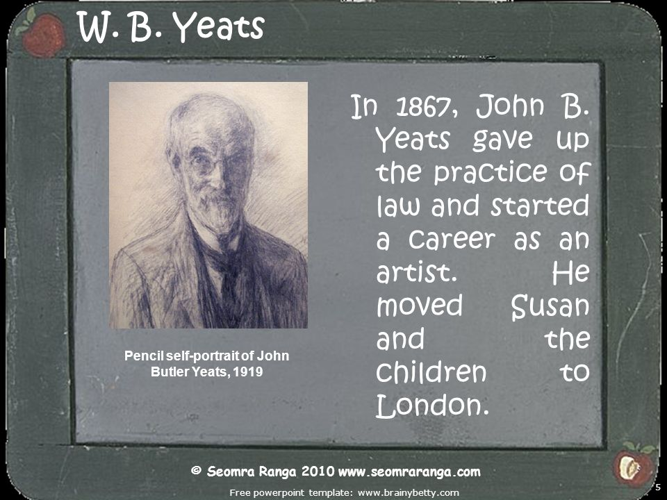 W. B. Yeats In 1867, John B. Yeats gave up the practice of law and started a career as an artist. He moved Susan and the children to London.