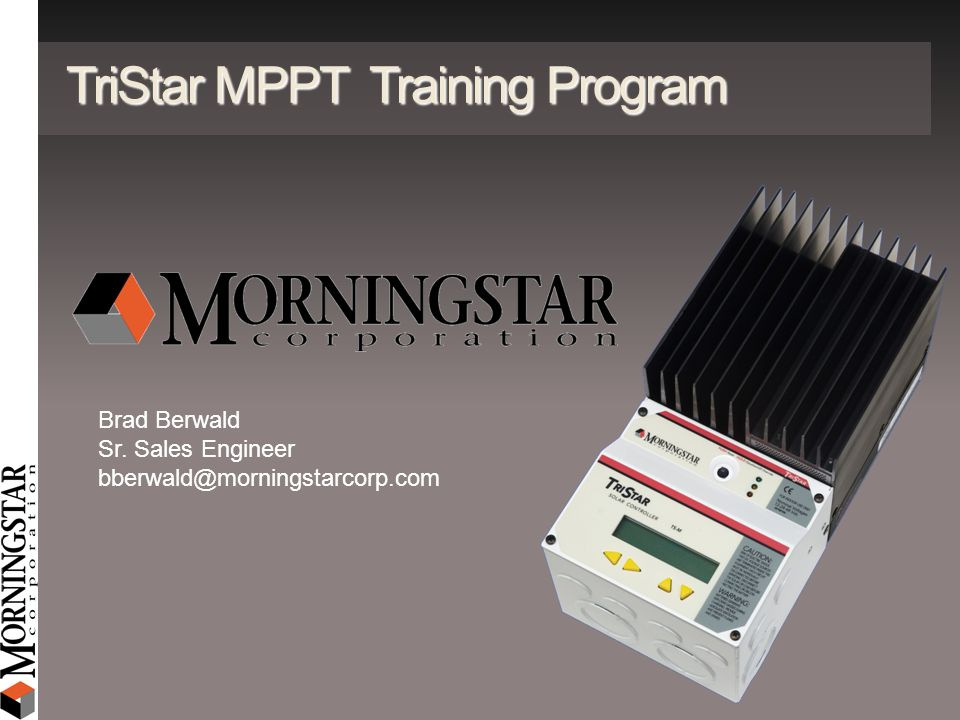 TriStar MPPT Training Program