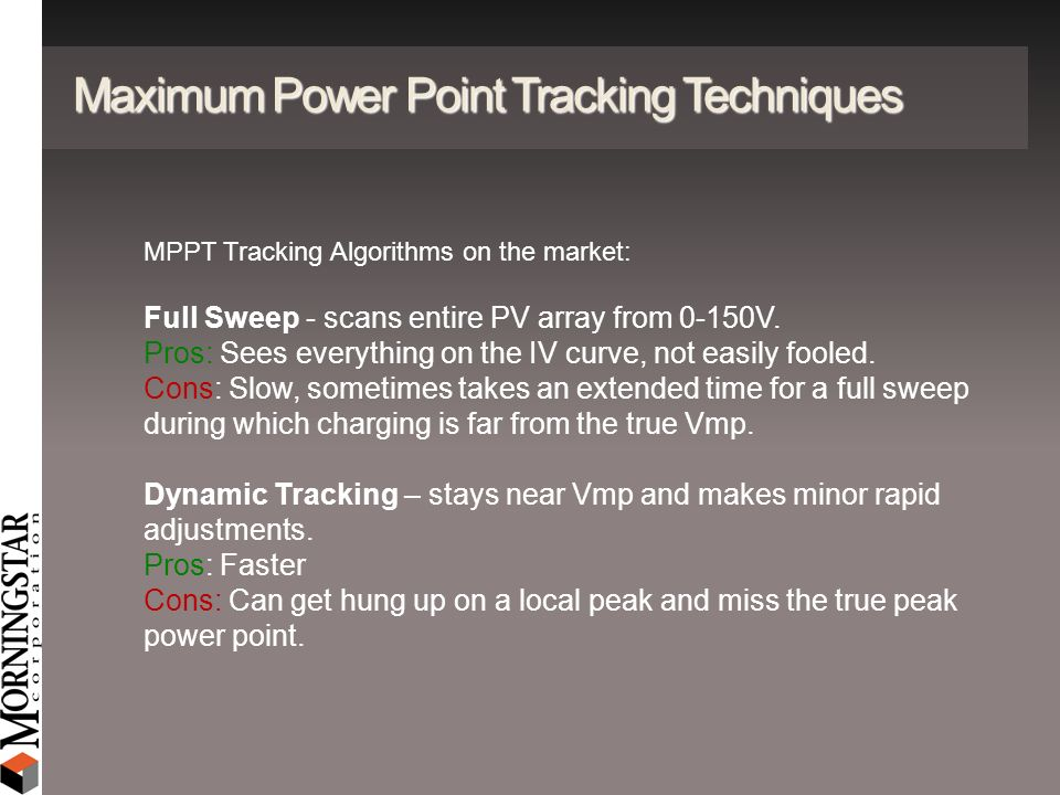 Maximum Power Point Tracking Techniques