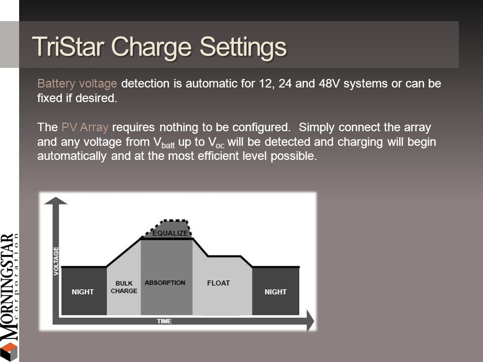 TriStar Charge Settings