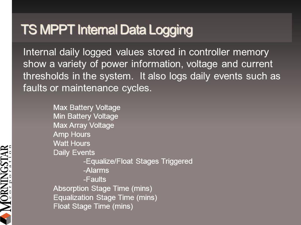 TS MPPT Internal Data Logging