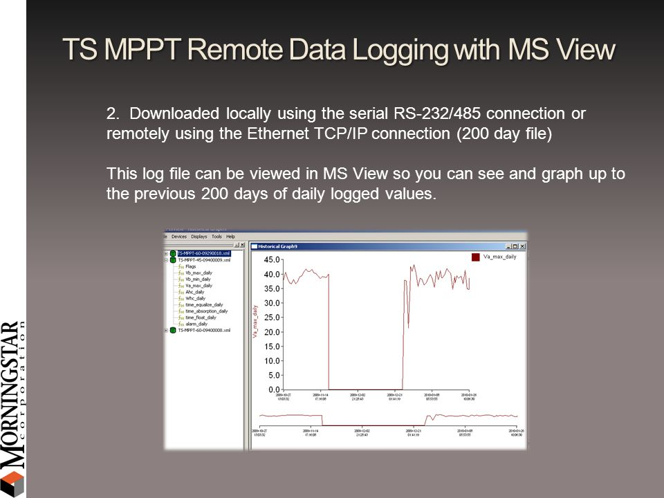 TS MPPT Remote Data Logging with MS View