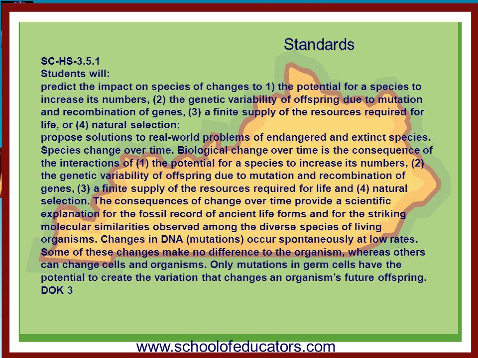 Standards www.schoolofeducators.com SC-HS-3.5.1 Students will: