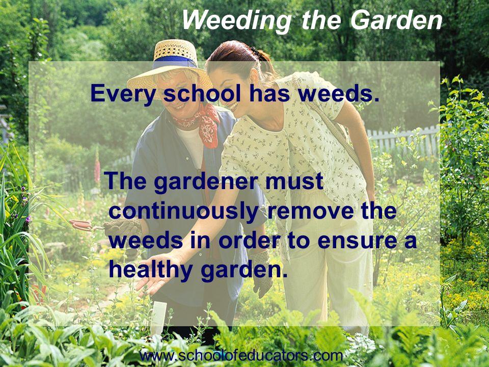 Weeding the Garden Every school has weeds.