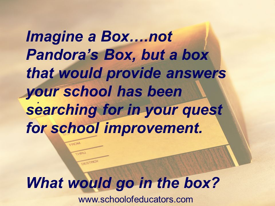 Imagine a Box….not Pandora's Box, but a box that would provide answers your school has been searching for in your quest for school improvement.