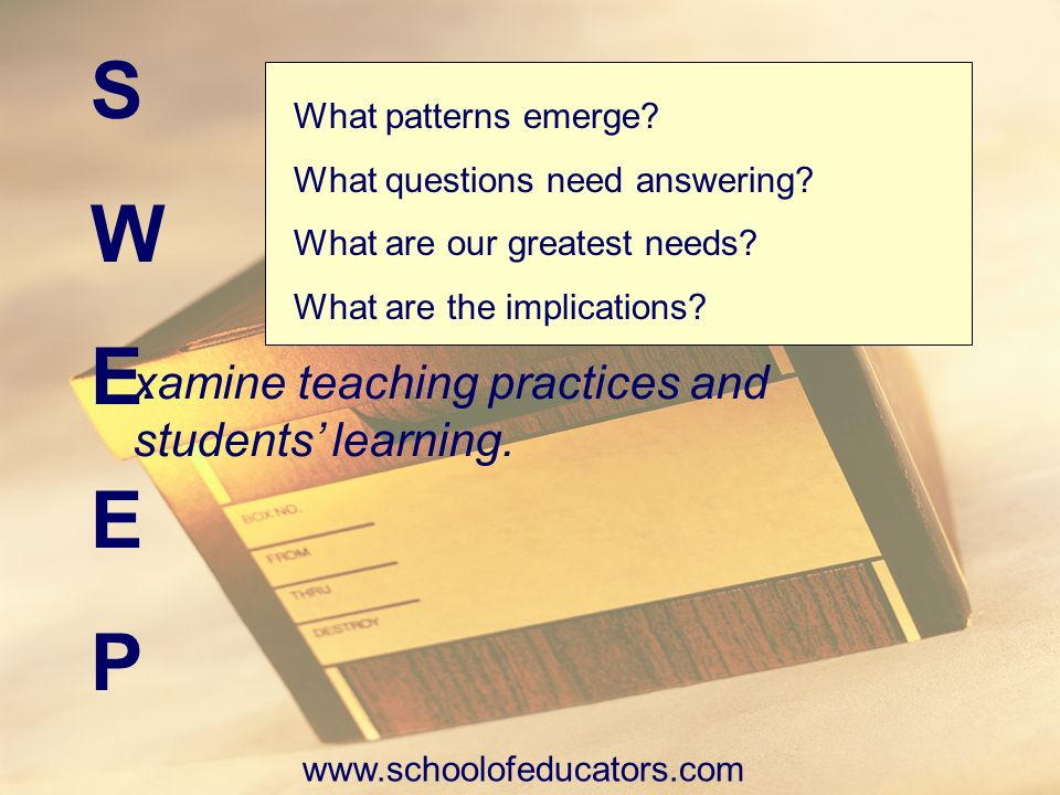 S W E P xamine teaching practices and students' learning. .