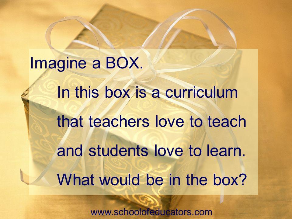 In this box is a curriculum that teachers love to teach