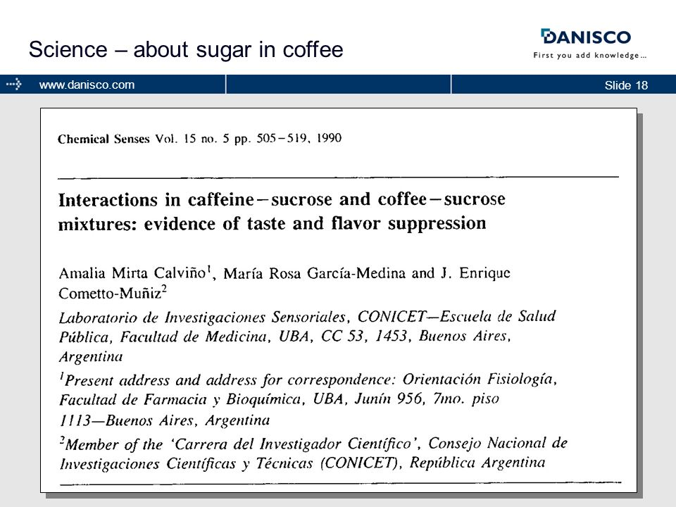 Science – about sugar in coffee