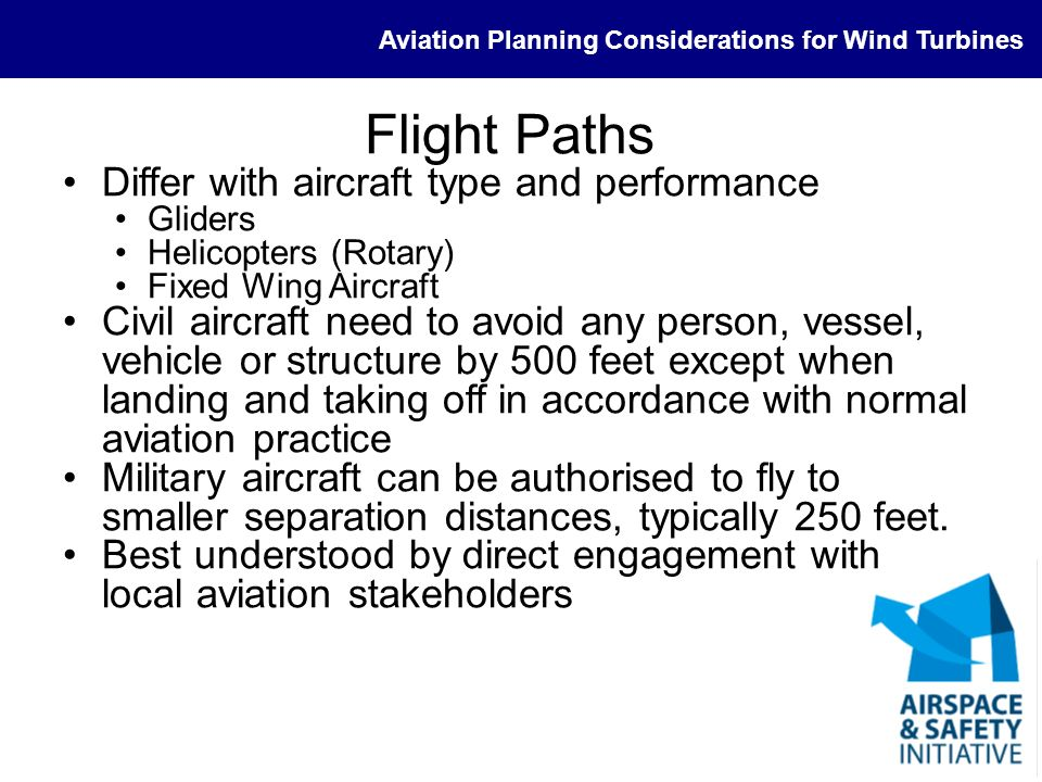 Flight Paths Differ with aircraft type and performance
