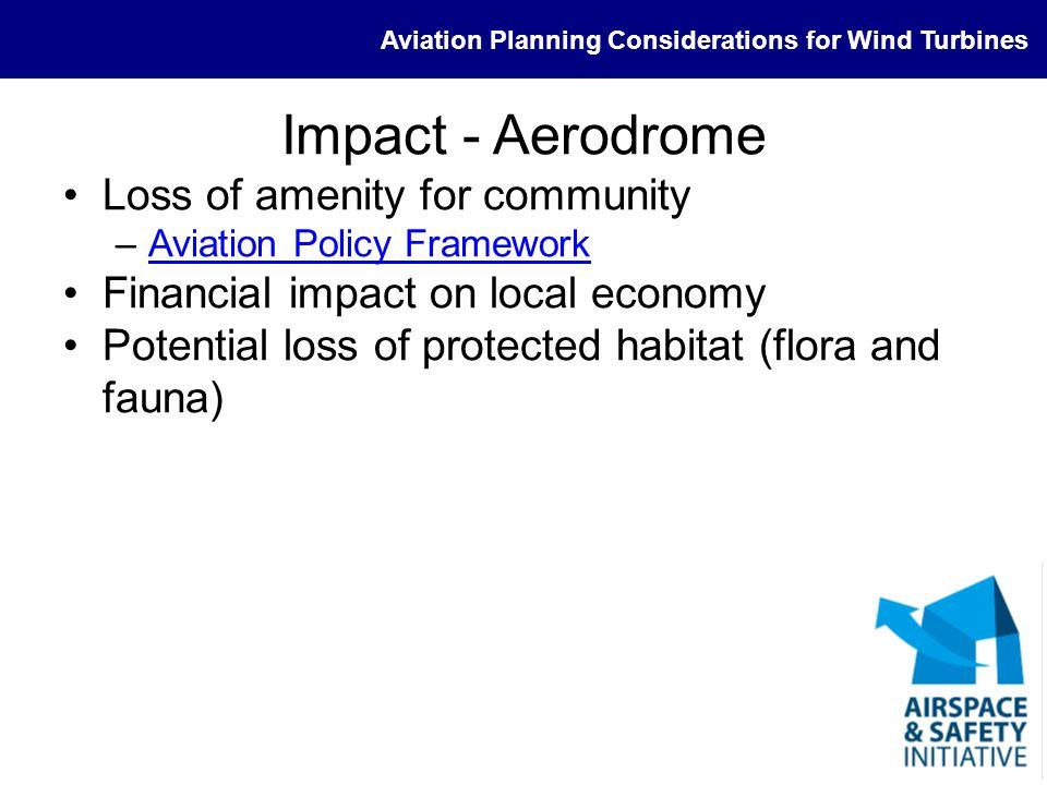 Impact - Aerodrome Loss of amenity for community
