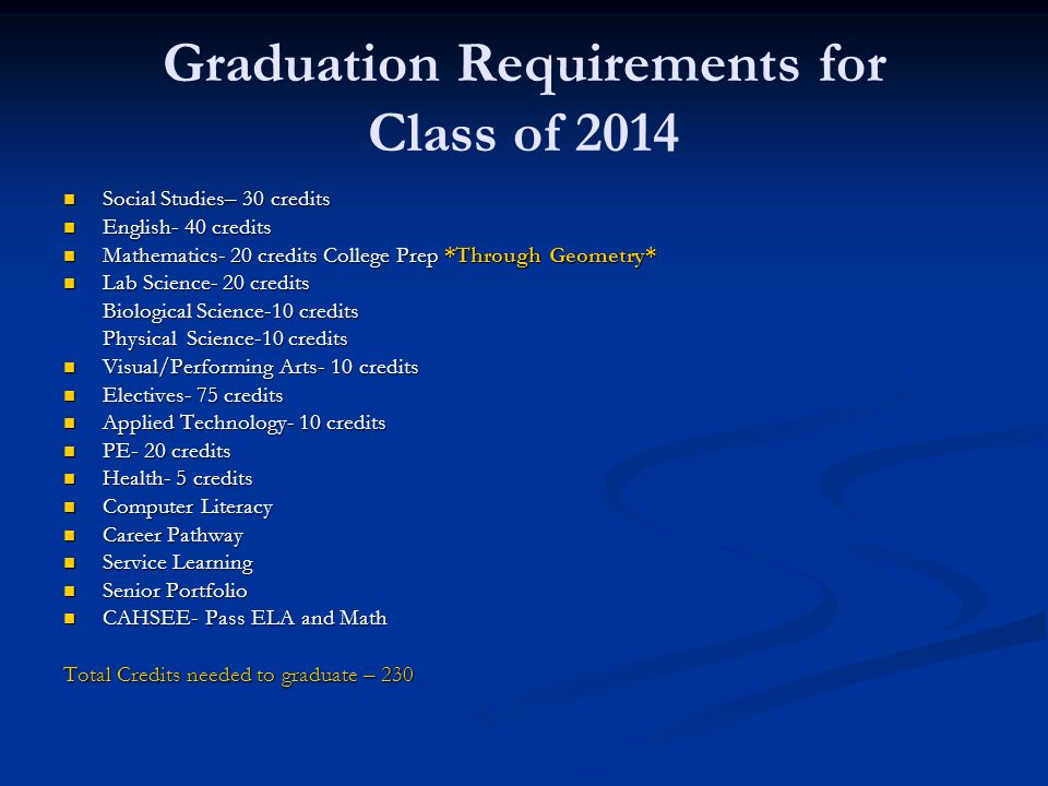 Graduation Requirements for Class of 2014