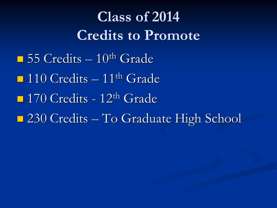 Class of 2014 Credits to Promote