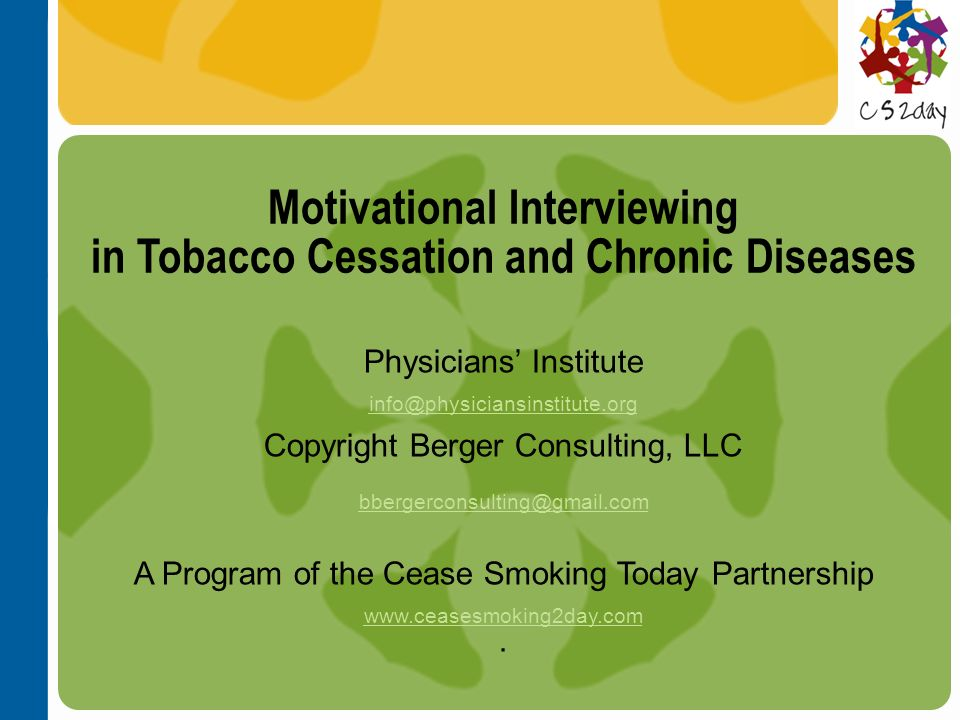 Motivational Interviewing in Tobacco Cessation and Chronic Diseases