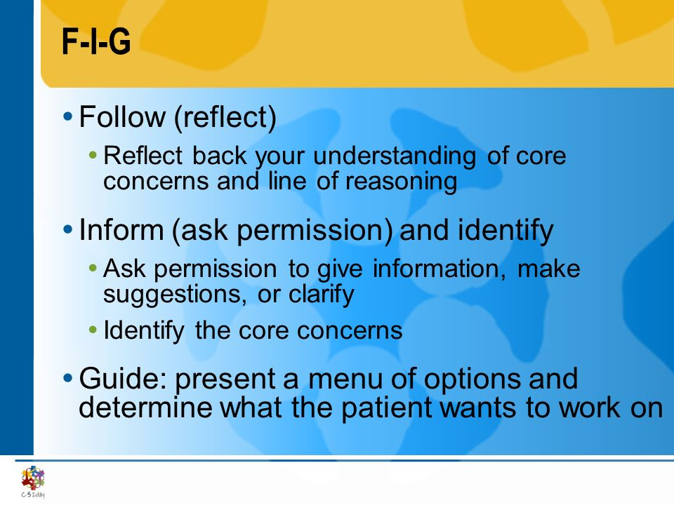 F-I-G Follow (reflect) Inform (ask permission) and identify
