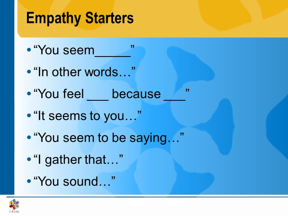 Empathy Starters You seem_____ In other words…
